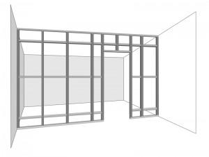 каркас дверного проёма в гипсокартонной перегородке