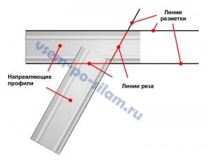 Соединение перегородок под острым углом